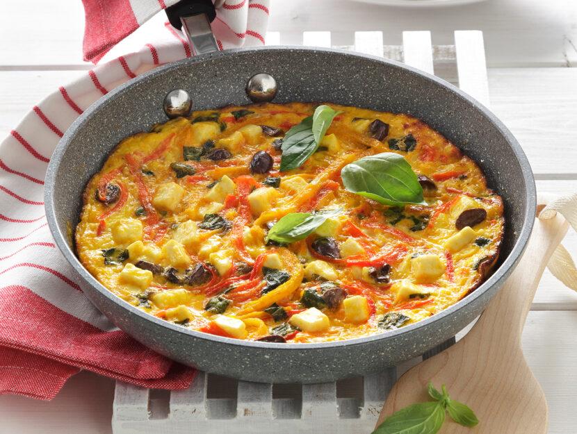 Frittata ai peperoni con formaggio e olive