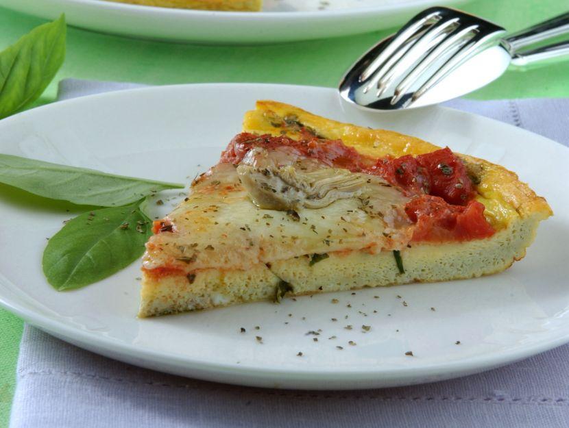 pizza-di-frittata-ai-carciofini-con-basilico-e-origano preparazione