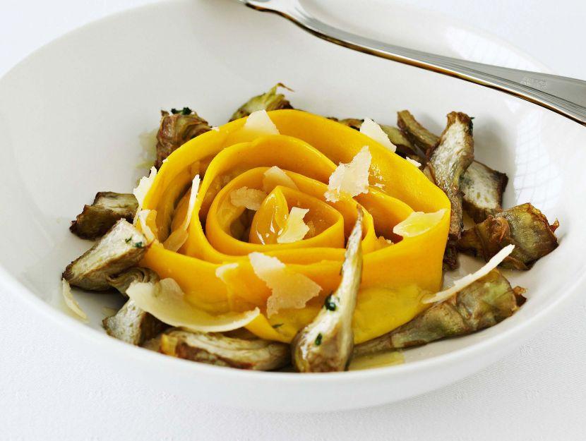 ricetta cannelloni-a-spirale-ripieni-di-carciofi-al-burro-e-timo