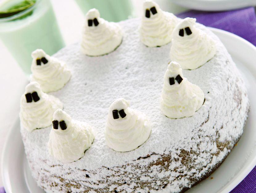 torta-di-zucca-con-fantasmini immagine