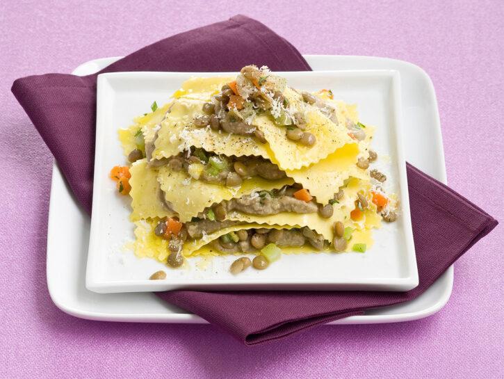 Lasagnette aperte con lenticchie