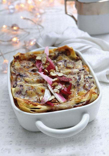 lasagne-con-radicchio-stracchino-e-noci preparazione