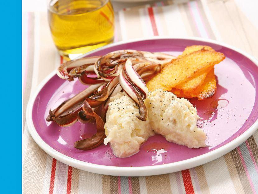 crema-di-baccala-con-polenta-e-radicchio preparazione