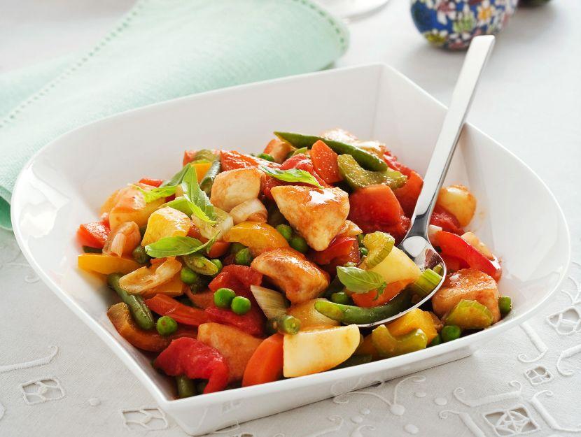 pollo-con-mix-di-verdure immagine
