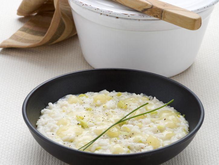 risotto-cremoso-con-porri-e-bra preparazione