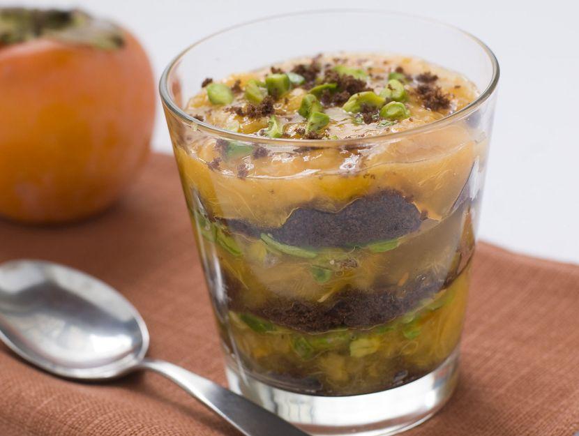 trifle-di-cachi-ai-pistacchi preparazione