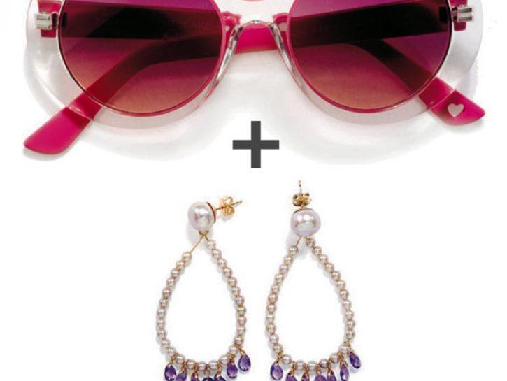 occhiali colorati e orecchini gioiello