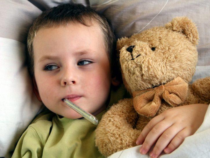 bambini-influenza-letto-febbre-orsetto