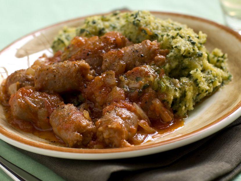 polenta-verde-con-salsiccia preparazione