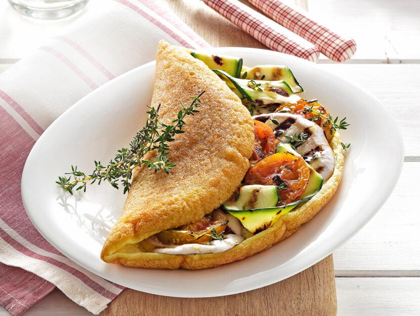 Omelette soffiata con verdure grigliate