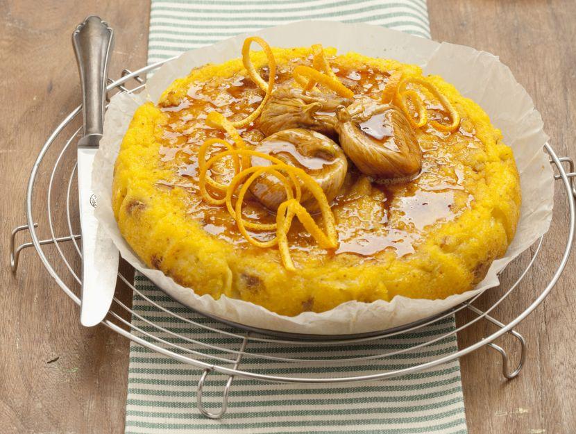 torta-di-polenta-con-alloro-e-fichi-secchi preparazione