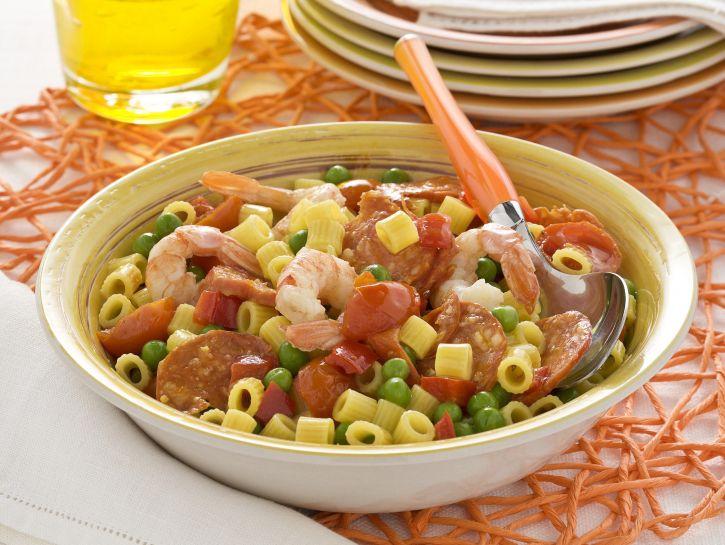 paella-di-pasta-con-salame-e-gamberi preparazione