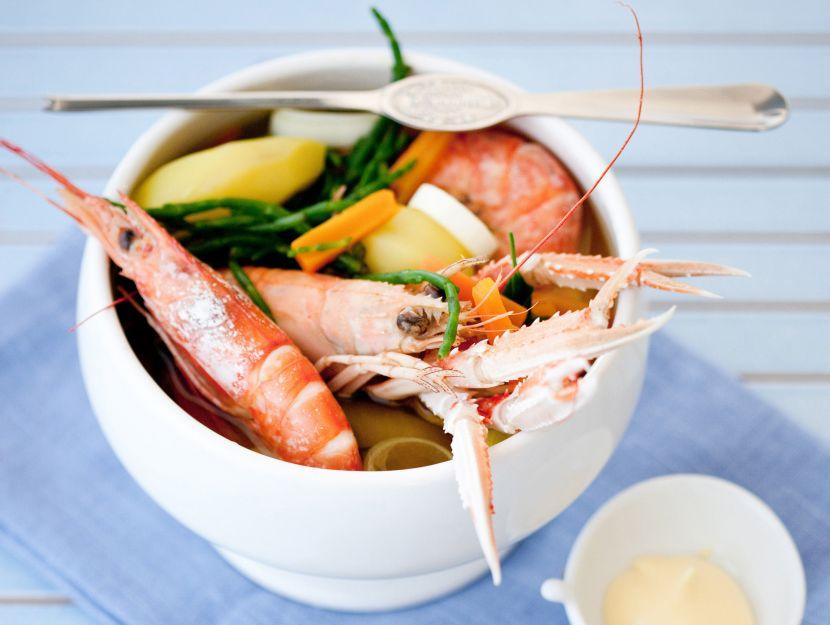 zuppa di crostacei e salicornia