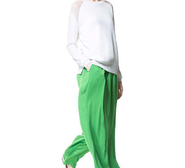 Pantaloni verde smeraldo