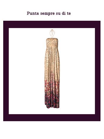 Stile etnico: abito lungo con fantasie floreali