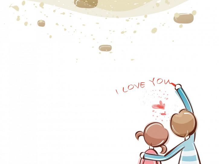 Couple writing I love you on a wall