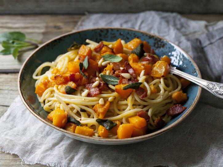 Spaghetti zucca pomodoro