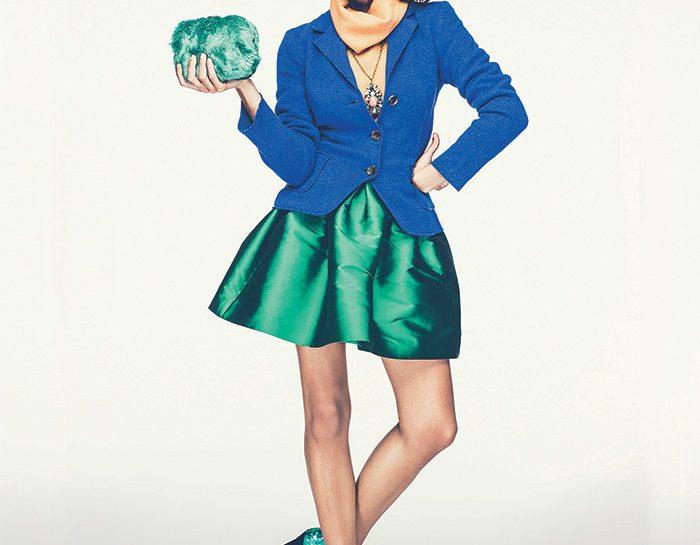 Blu elettrico + albicocca + verde cangiante