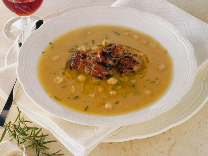 Zuppa di ceci con verzini alla griglia