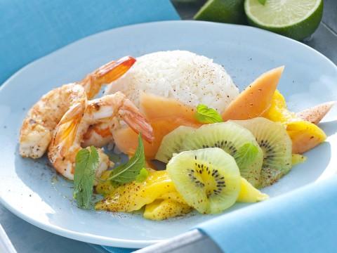 Basmati con gamberi e frutta tropicale