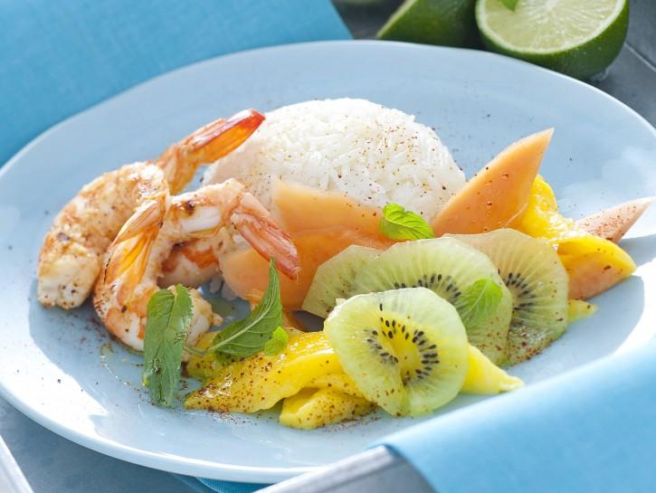 basmati-con-gamberi-e-frutta-tropicale