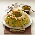 Timballo di riso al curry con gamberi