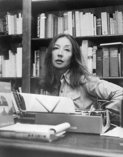 Oriana Fallaci Sitting at Typewriter