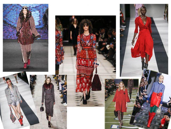 I colori dell'autunno inverno 2015-2016:rosso, marsala, bordeaux