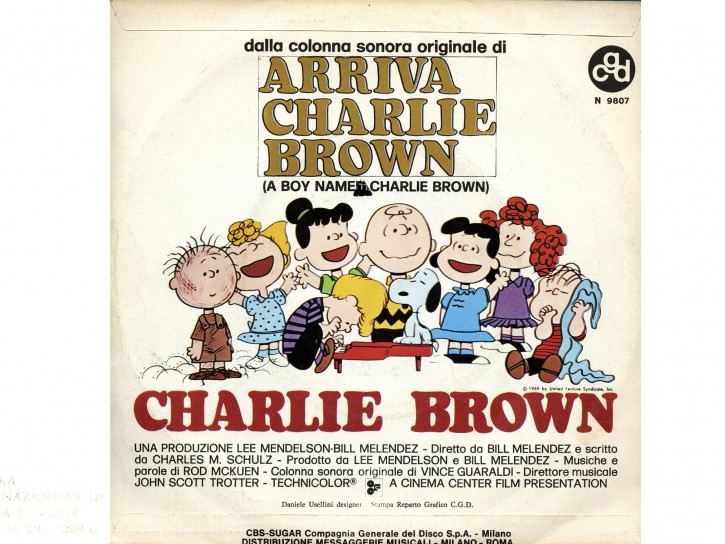 Copertina e retro del 45 giri di Jonny Dorelli con la canzone Charlie Brown alta