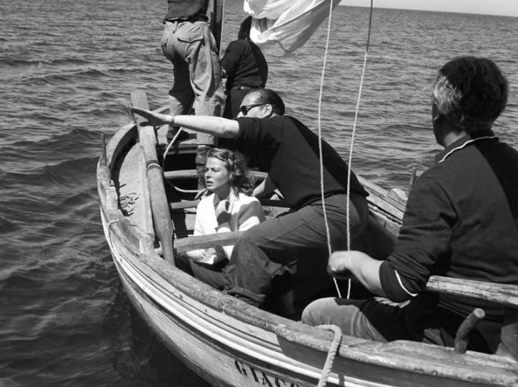 Ingrid Bergman e Roberto Rossellini sul set di