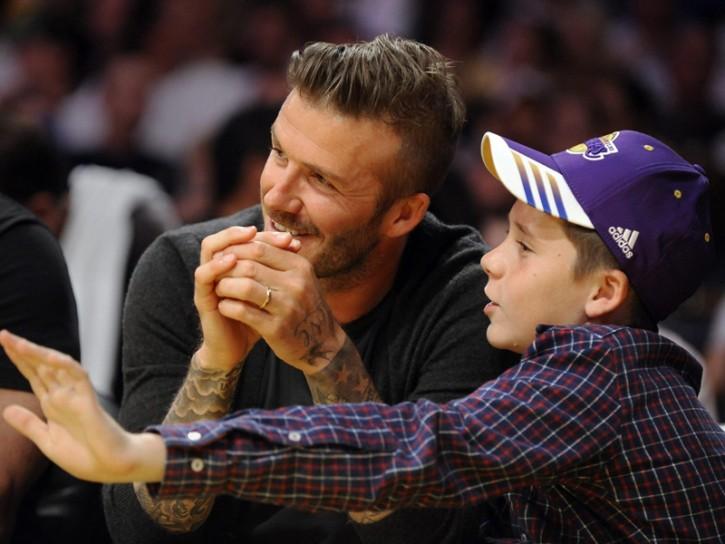 David Beckham con il figlio Brooklyn