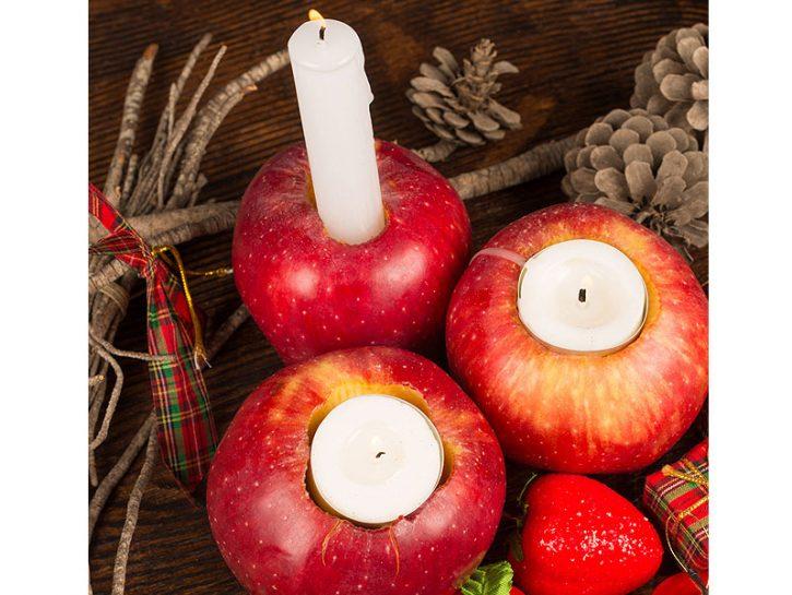PORTACANDELE SEGNAPOSTOScava al centro una mela ed ecco un portacandele perfetto da usare come segna