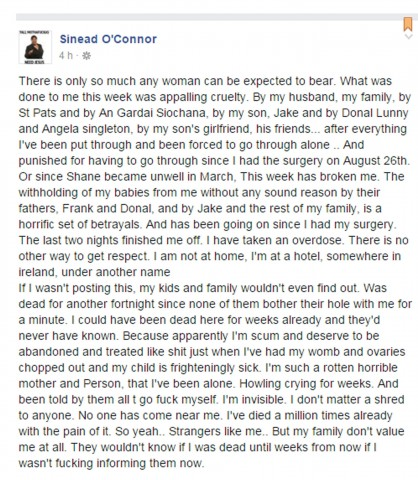 Sinead OConnor post Facebook