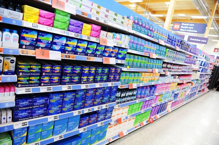 Assorbenti tamponi supermercato