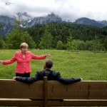 Barack Obama con Angela Merkel in Germania