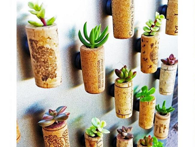 Un'idea davvero suggestiva per riciclare i tappi di sughero: trasformarli in tanti mini vasi per pic