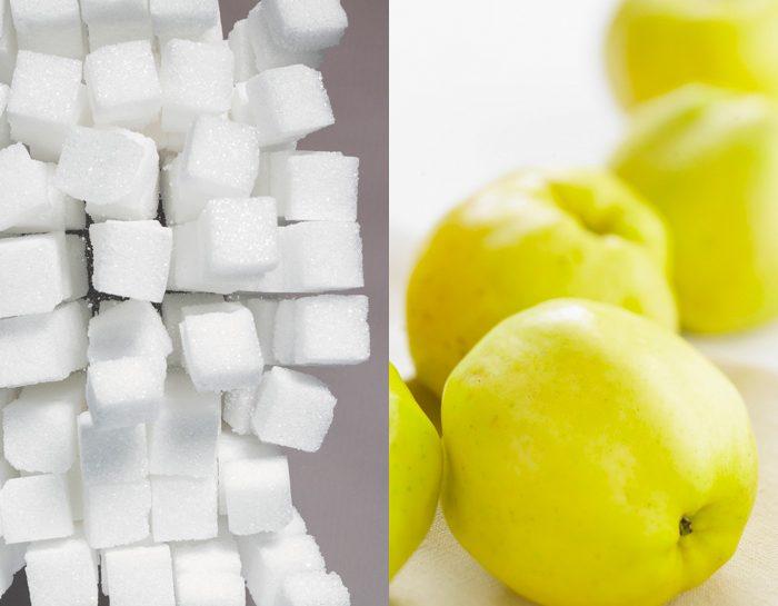 Zucchero contro mela