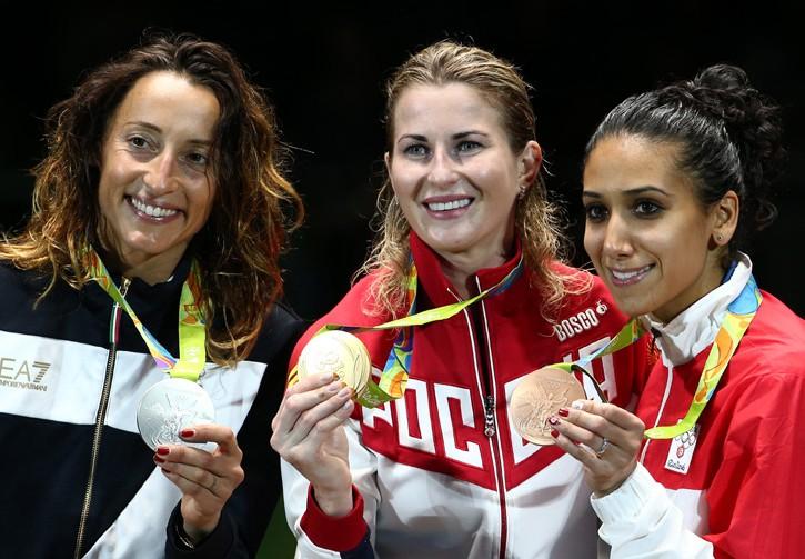 Le tre medaglie nel fioretto femminile