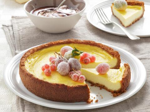 Cheesecake con frutta brinata