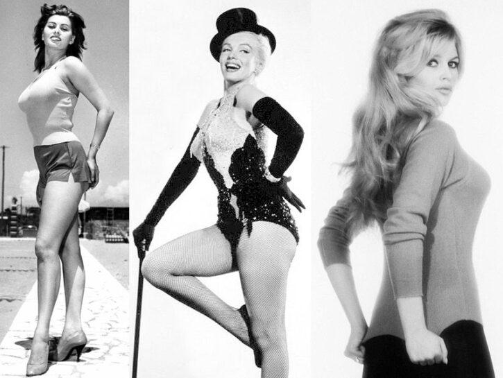 Sophia Loren, Marilyn Monroe e Brigitte Bardot tra le indimenticabili icone curvy del passato.