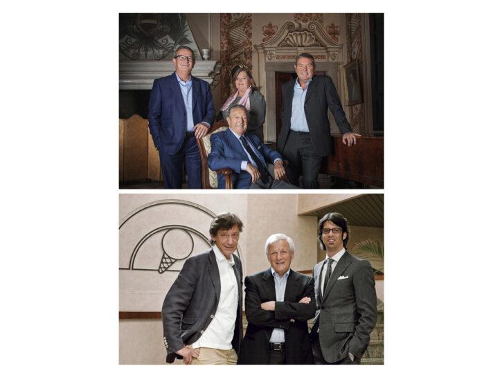 Nella foto in alto: la famiglia Ziliani (Berlucchi). Nella foto in basso: la famiglia Bagnoli (Sammo