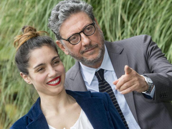 """Sergio Castellitto e Caterina Chnnici durante la presentazione del film RAI """"Rocco Chinnici. È così lieve il tuo bacio sulla fronte"""" presso la sede di viale Mazzini a Roma"""