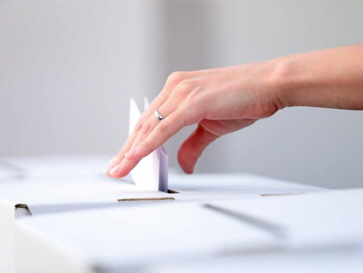 Elezioni mano di donna che vota