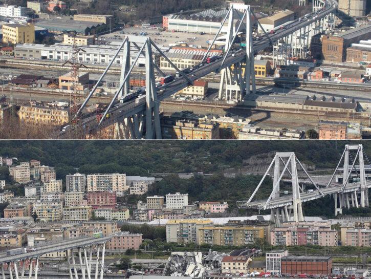 Crolla ponte su autostrada a Genova