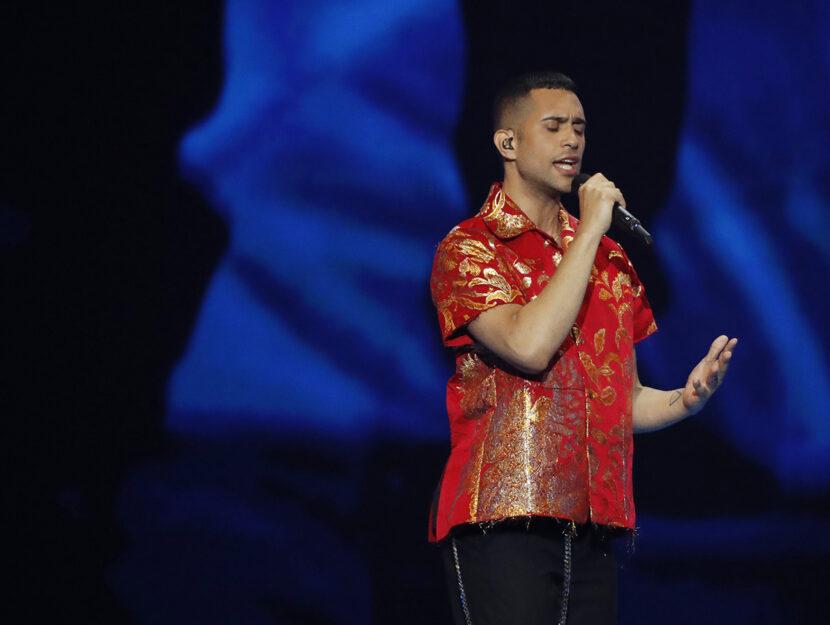Mahmood sul palco dell'Eurovision (Getty Images)