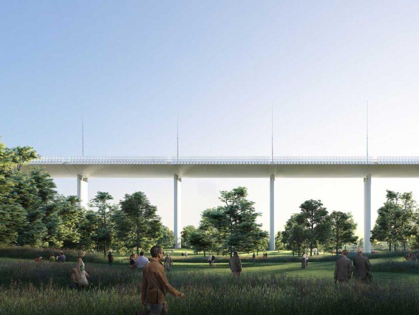 Il rendering del progetto del nuovo viadotto progettato da Renzo Piano che sostituirà il ponte Mora