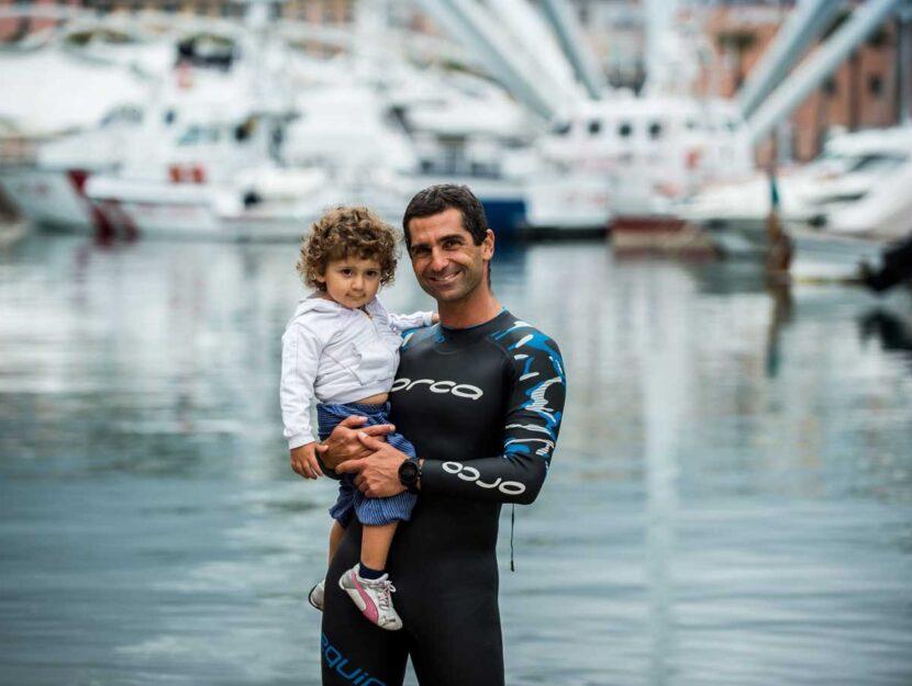 L'IronDad Filippo Minuto (sì, avete letto bene!) con la figlia Guia. Il 21 settembre 2019 corre a C