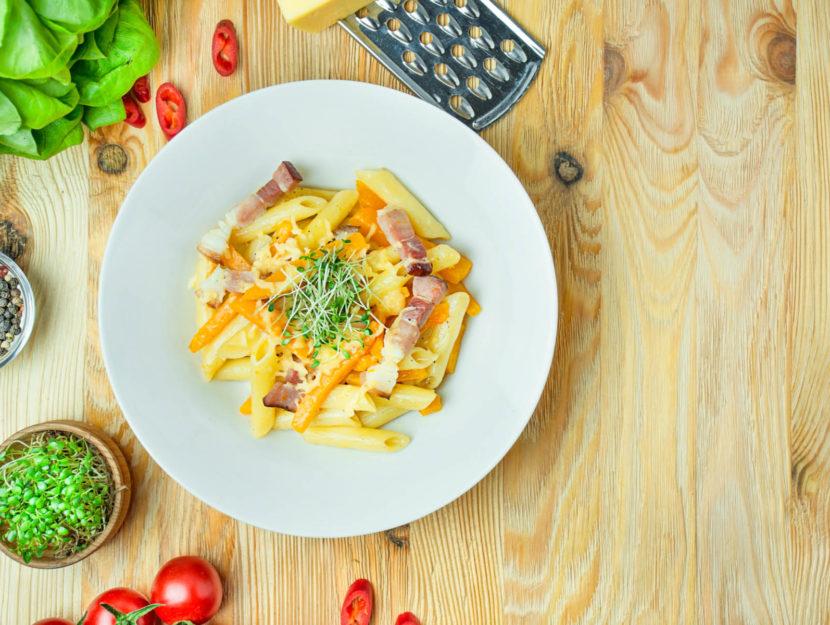 ricetta pasta con zucca e pancetta