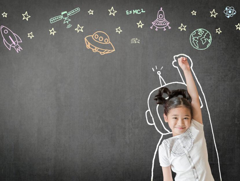 Bambina lavagna scienza astrofisica