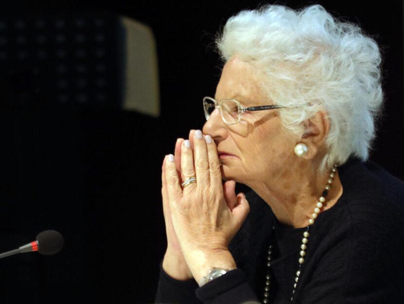 La senatrice a vita Liliana Segre al Memoriale della Shoa